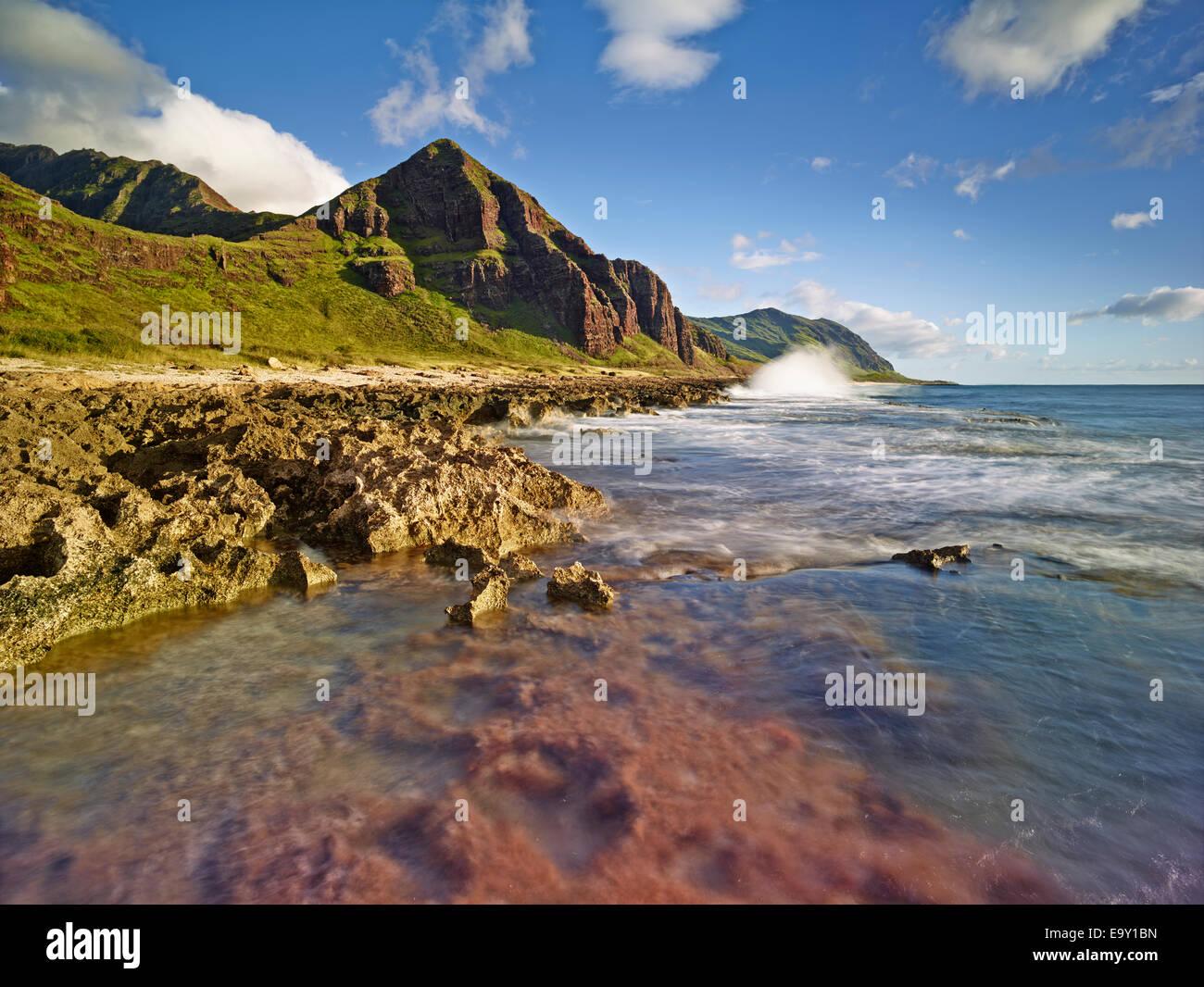 Costa de Ka'ena Point State Park, Oahu, Hawai, Estados Unidos Imagen De Stock