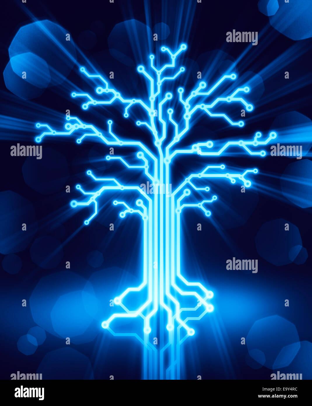 Resplandeciente árbol digital de circuitos, Ilustración conceptual azul sobre fondo negro Imagen De Stock