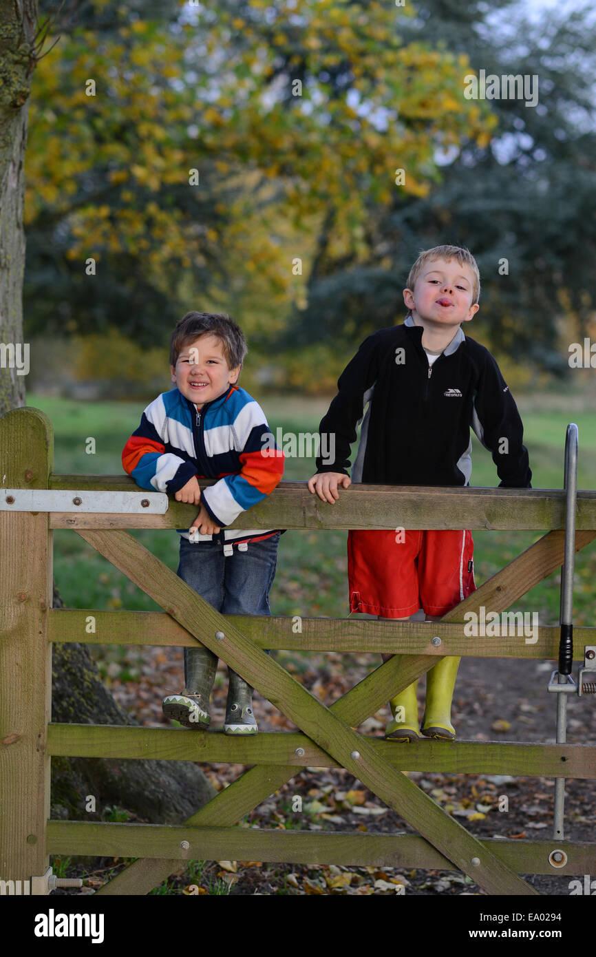 Dos niños varones feliz impertinente la escalada en puerta de madera Uk Imagen De Stock