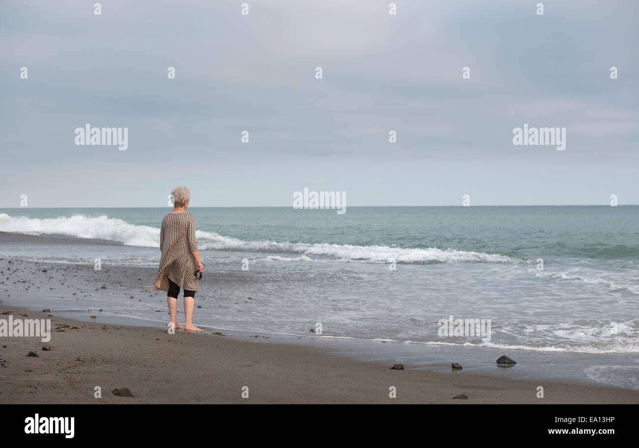 Vista trasera de altos mujer mirando al mar, Dana Point, California, EE.UU. Imagen De Stock