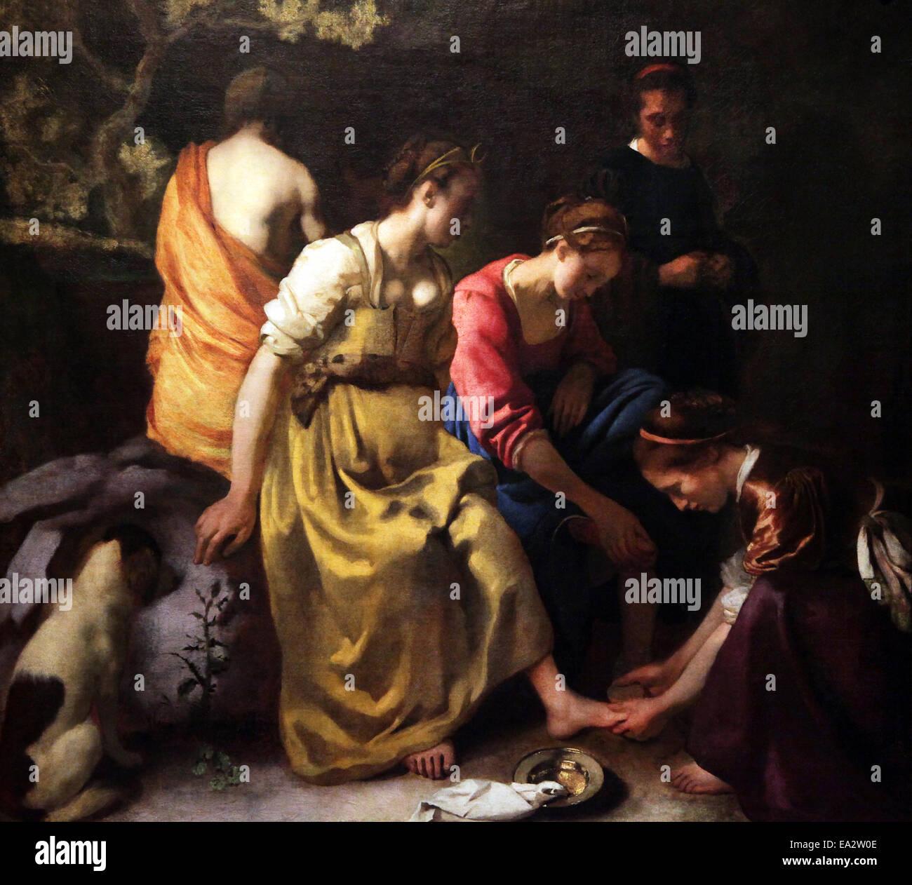 Diana y sus compañeras, una pintura del artista holandés Johannes Vermeer completado en la primera mitad Imagen De Stock