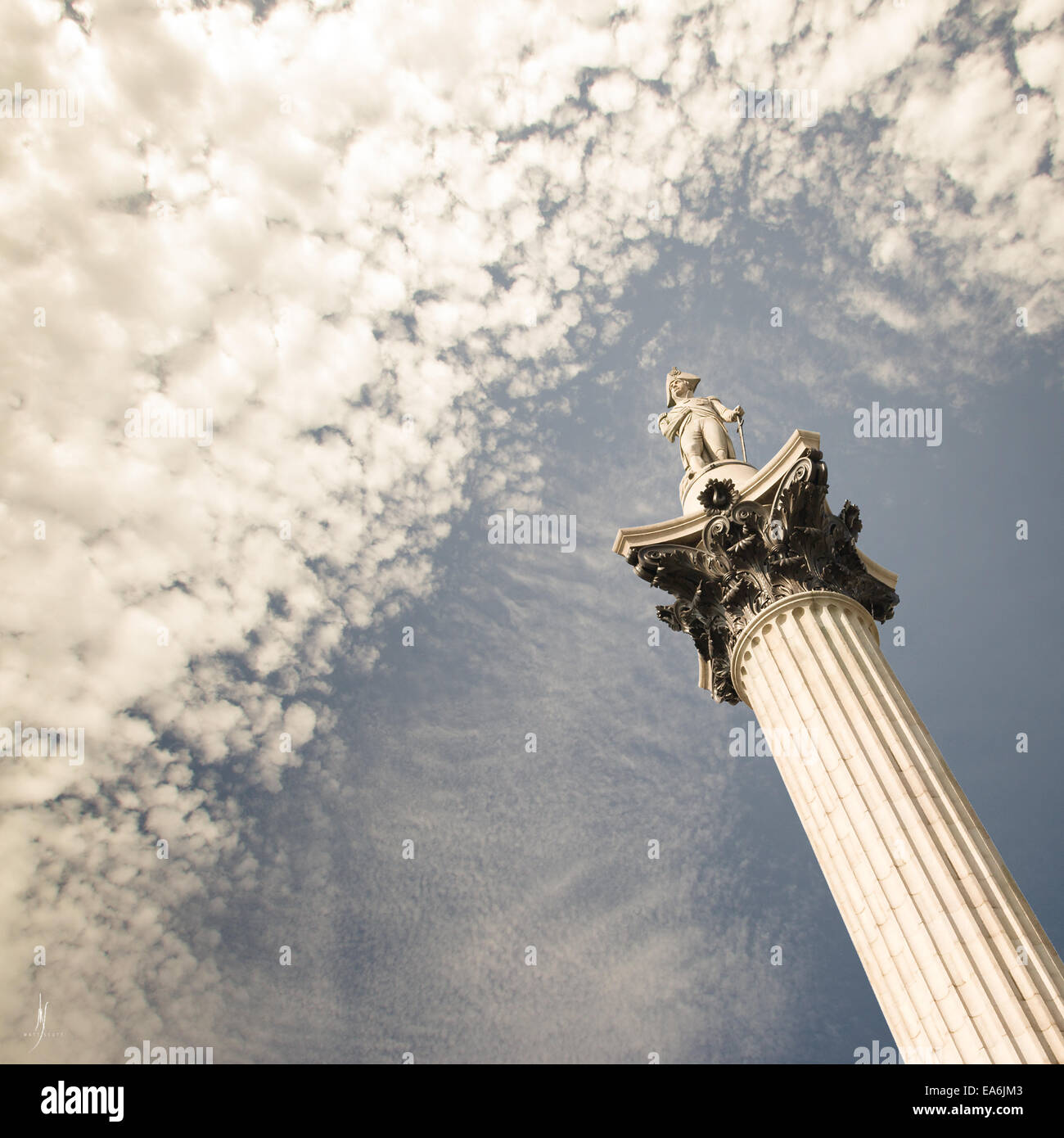 Vista de ángulo bajo la columna de Nelson, Inglaterra, Reino Unido. Imagen De Stock