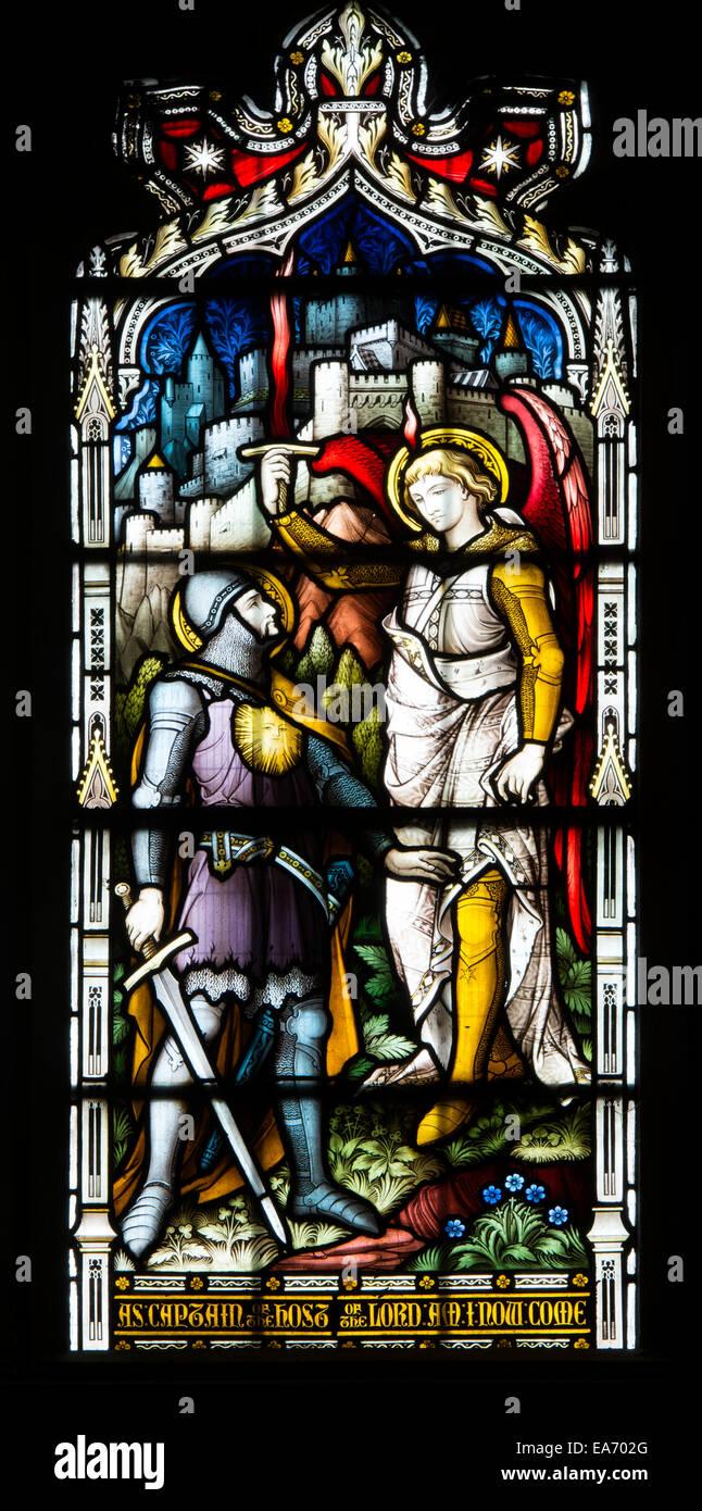 Josué y el ángel vidrieras, la Basílica de San Marco, Leamington Spa ...