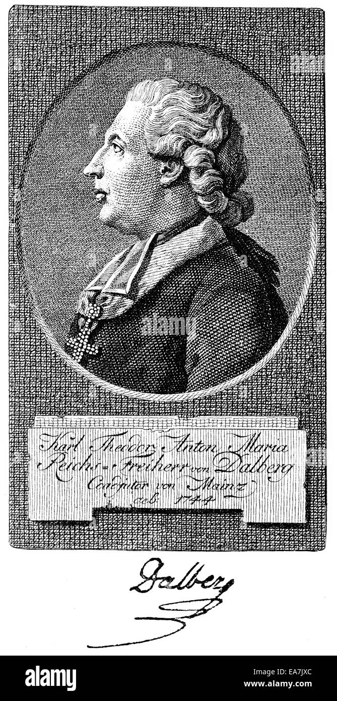 El barón Karl Theodor Anton Maria von Dalberg, 1744-1817, arzobispo y estadista, escritor, Portait von Karl Theodor Anton Maria Volver Foto de stock