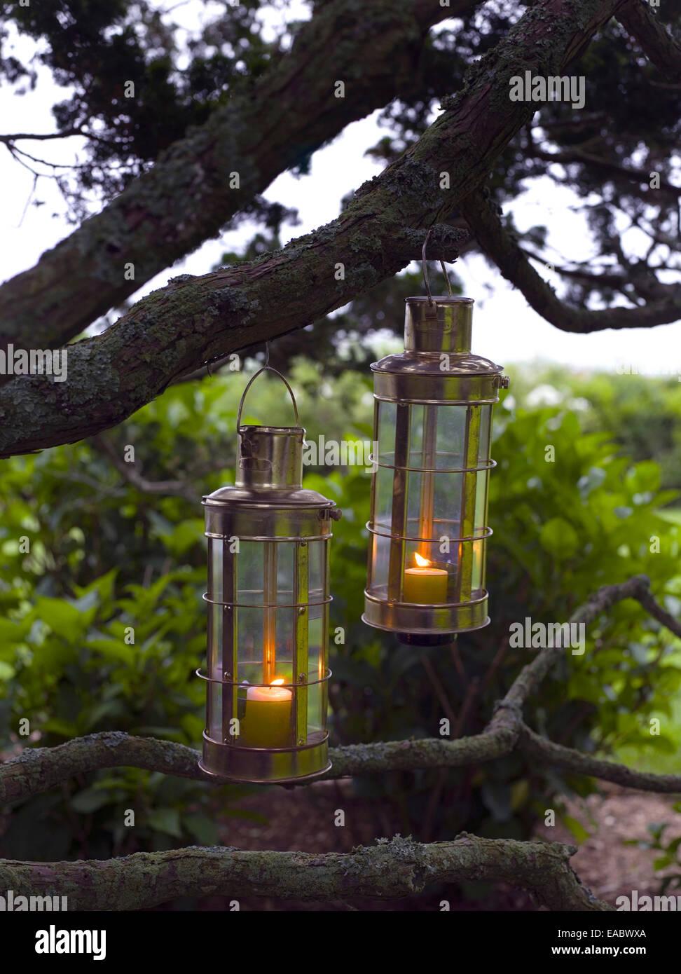 Velas en linternas colgando del árbol al atardecer Imagen De Stock