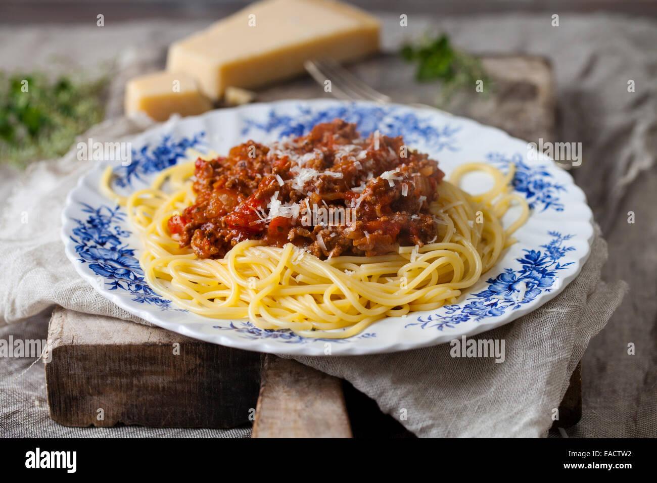 Los espaguetis a la boloñesa Imagen De Stock