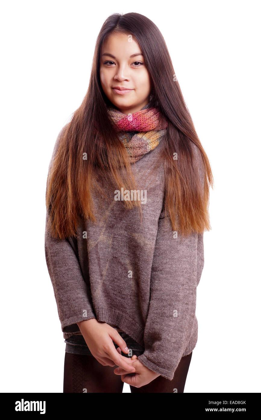 muchacha asiática tímida Imagen De Stock