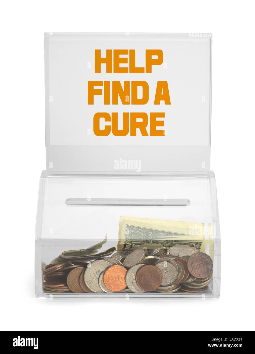 Ayudar a encontrar una cura Caja de donación aislado sobre fondo blanco. Imagen De Stock