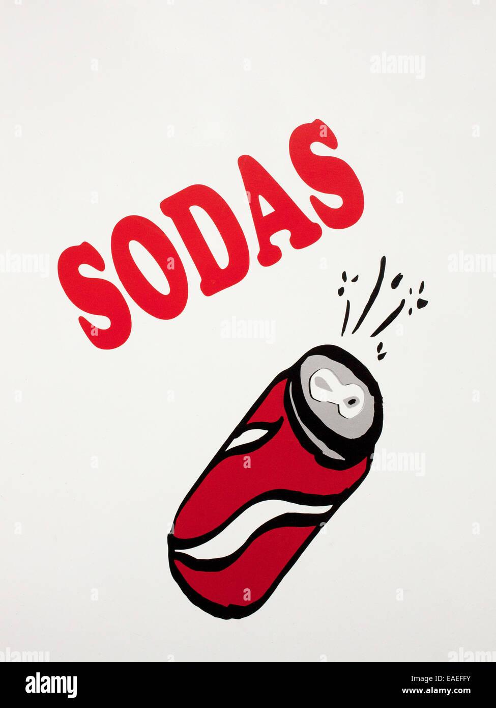 Publicidad signo pintados a mano para la venta de soda Imagen De Stock