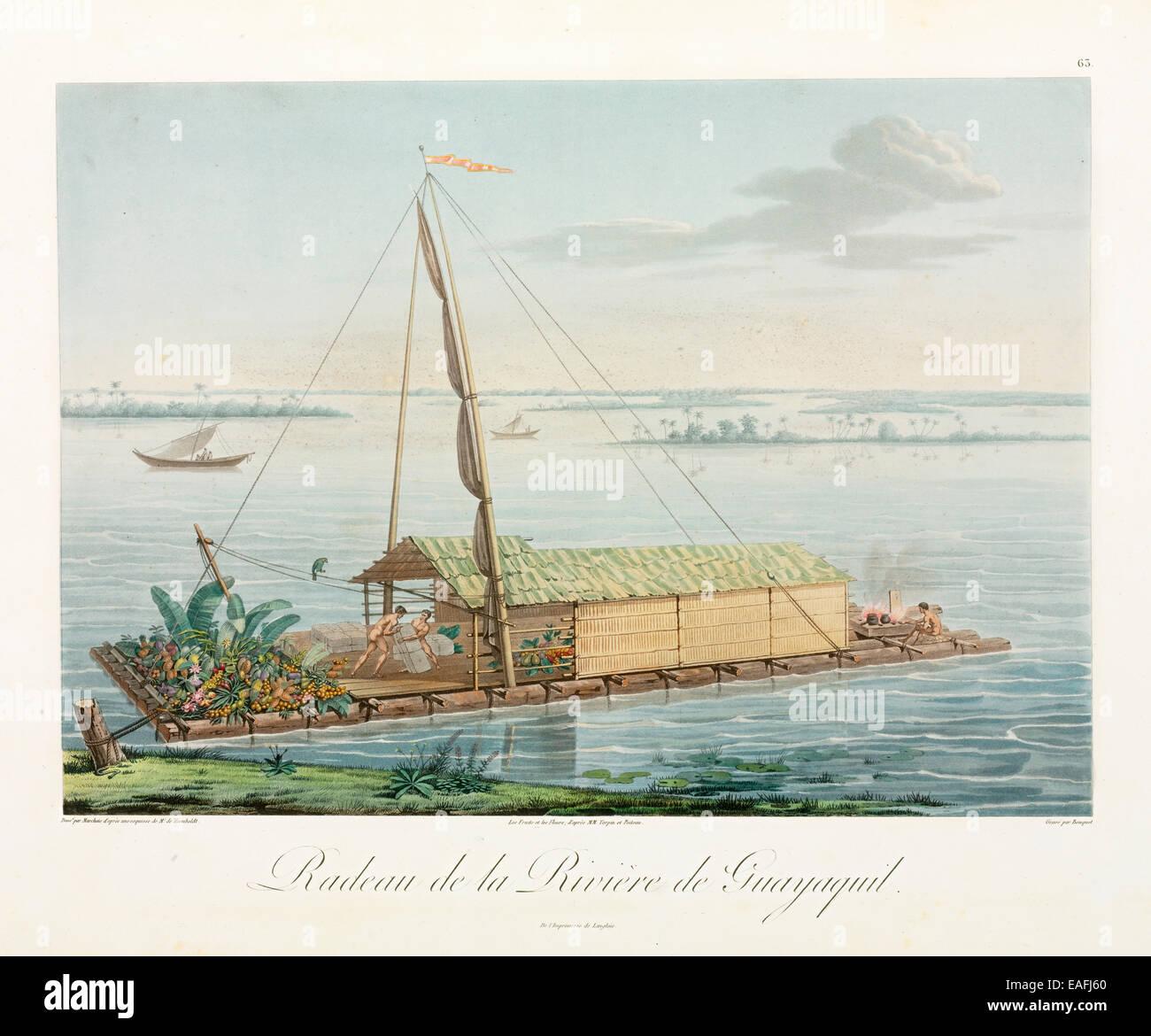 Estilo peruano balsa utilizada por Humboldt y Bonpland en sus comienzos del siglo XIX, la exploración de la Imagen De Stock