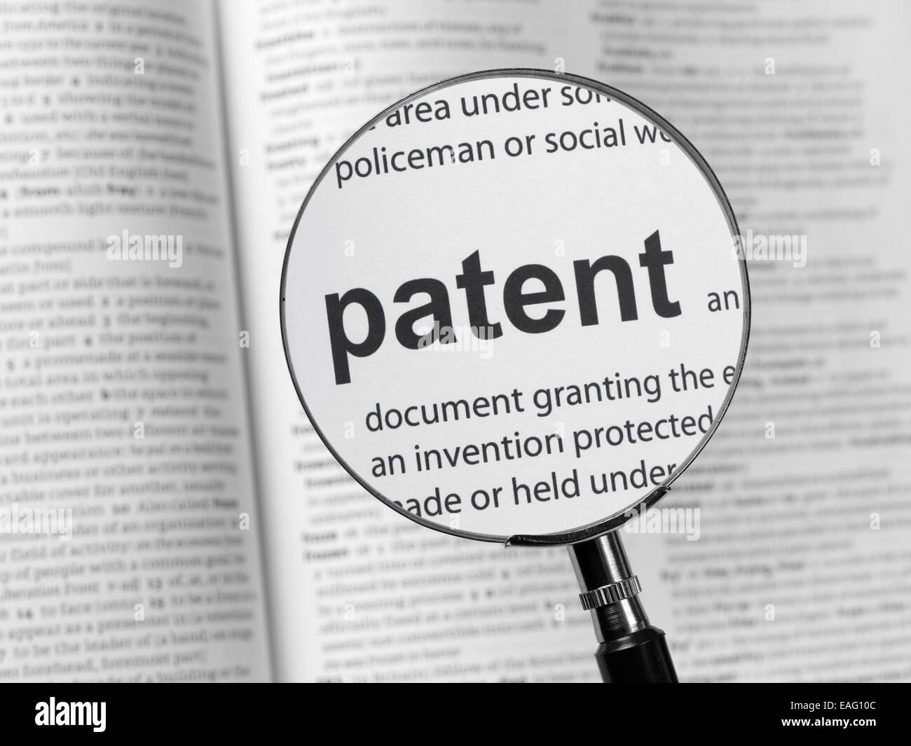 Diccionario de patentes resaltado Foto de stock