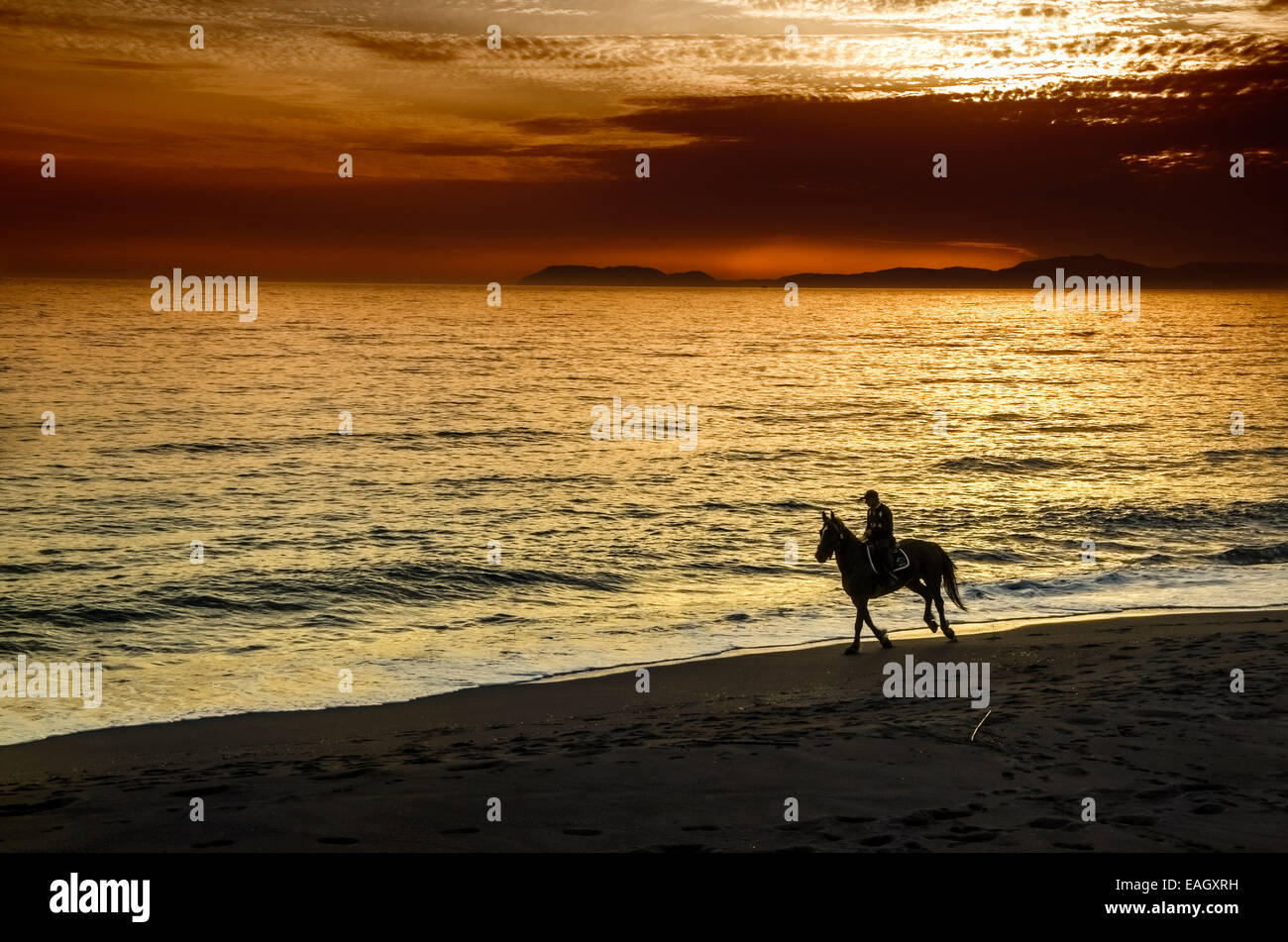 El jinete en la playa durante la puesta de sol en Grecia Imagen De Stock