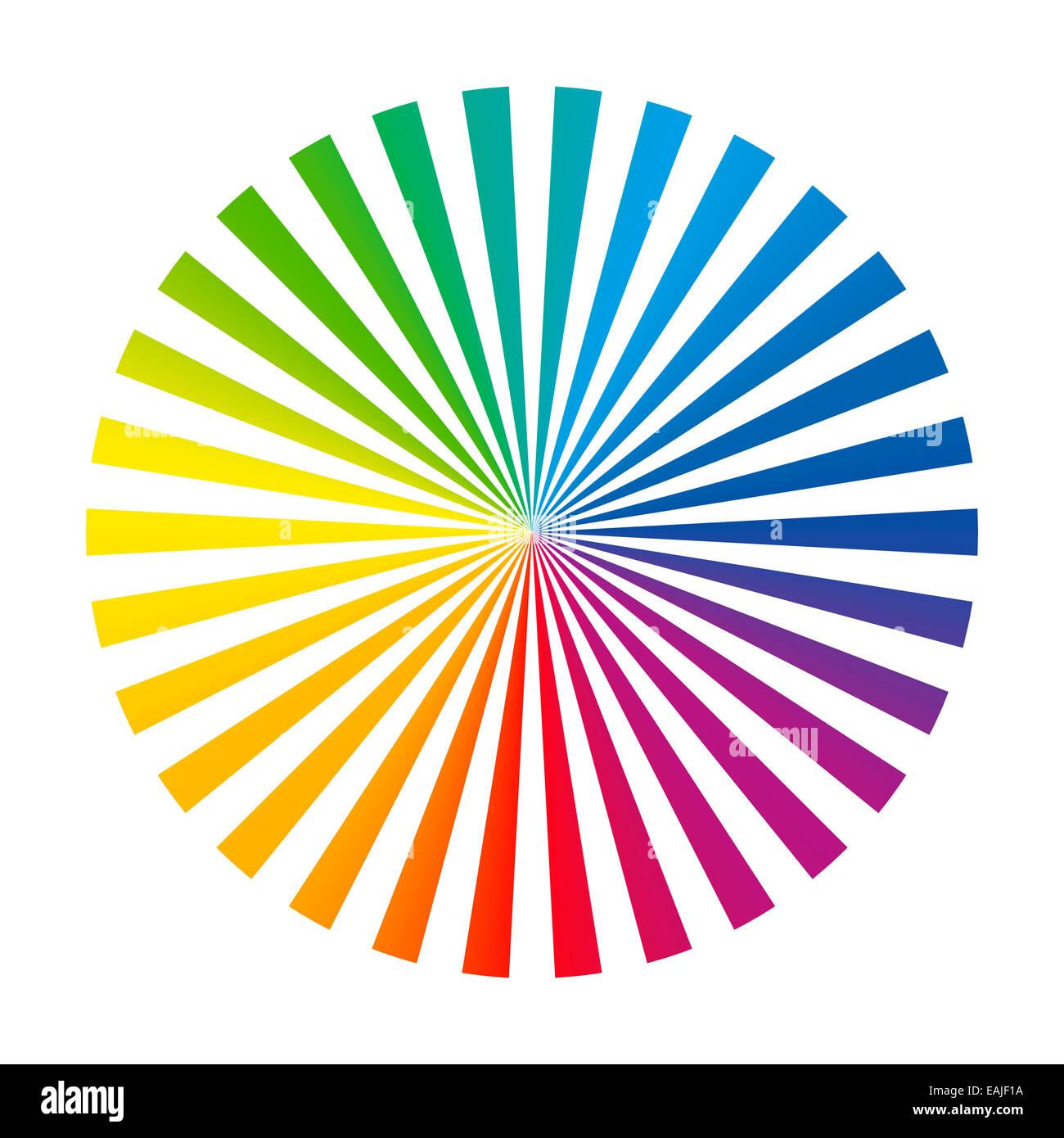 Cubierta del ventilador de color circular compuesto de treinta diferentes vibrante rayas de tinta. Imagen De Stock