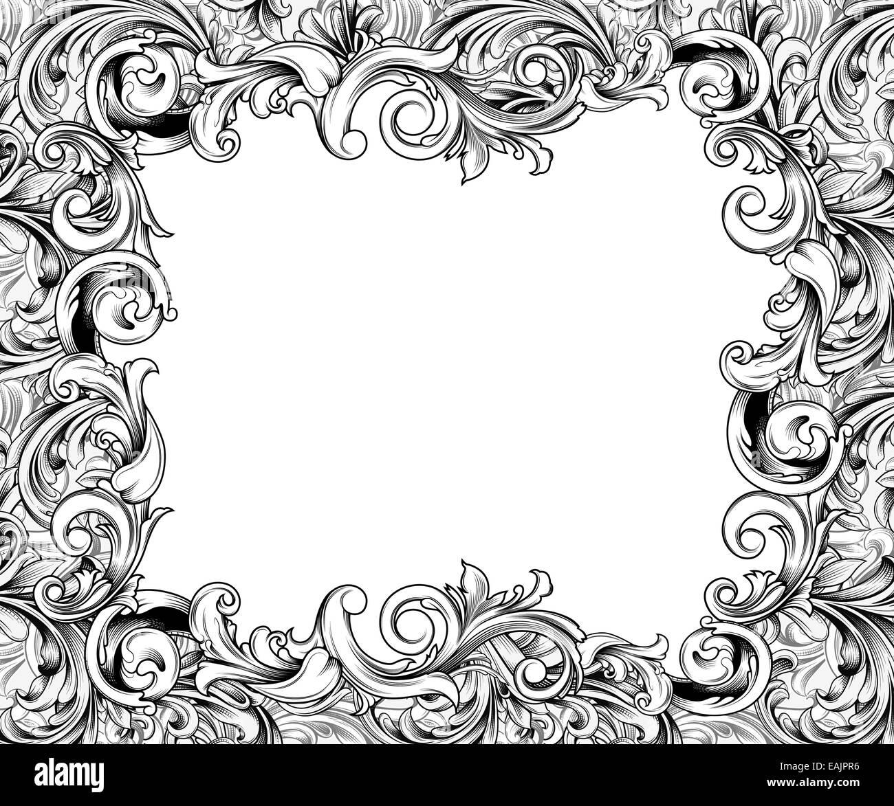 Fancy vintage marco o borde grabado Foto & Imagen De Stock: 75401066 ...