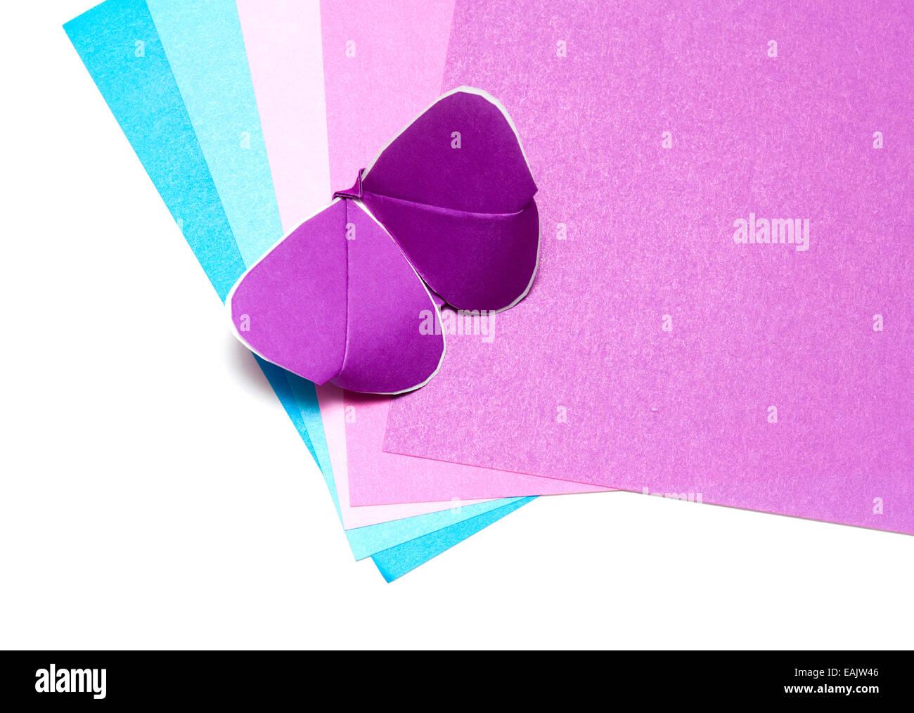 Papel de color y kirigami batterfly Imagen De Stock