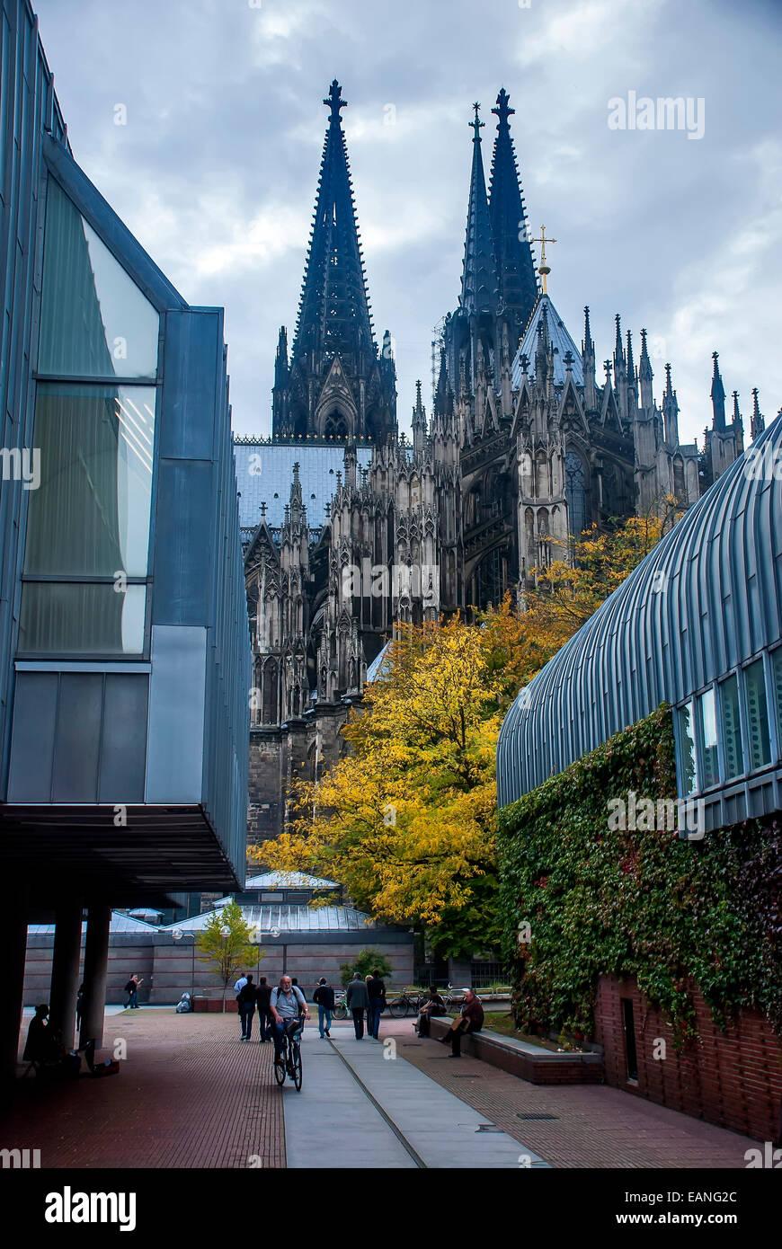 Senhor passeando de bicicleta na praça atrás da Catedral de Colonia. / Plaza detrás de la catedral Imagen De Stock