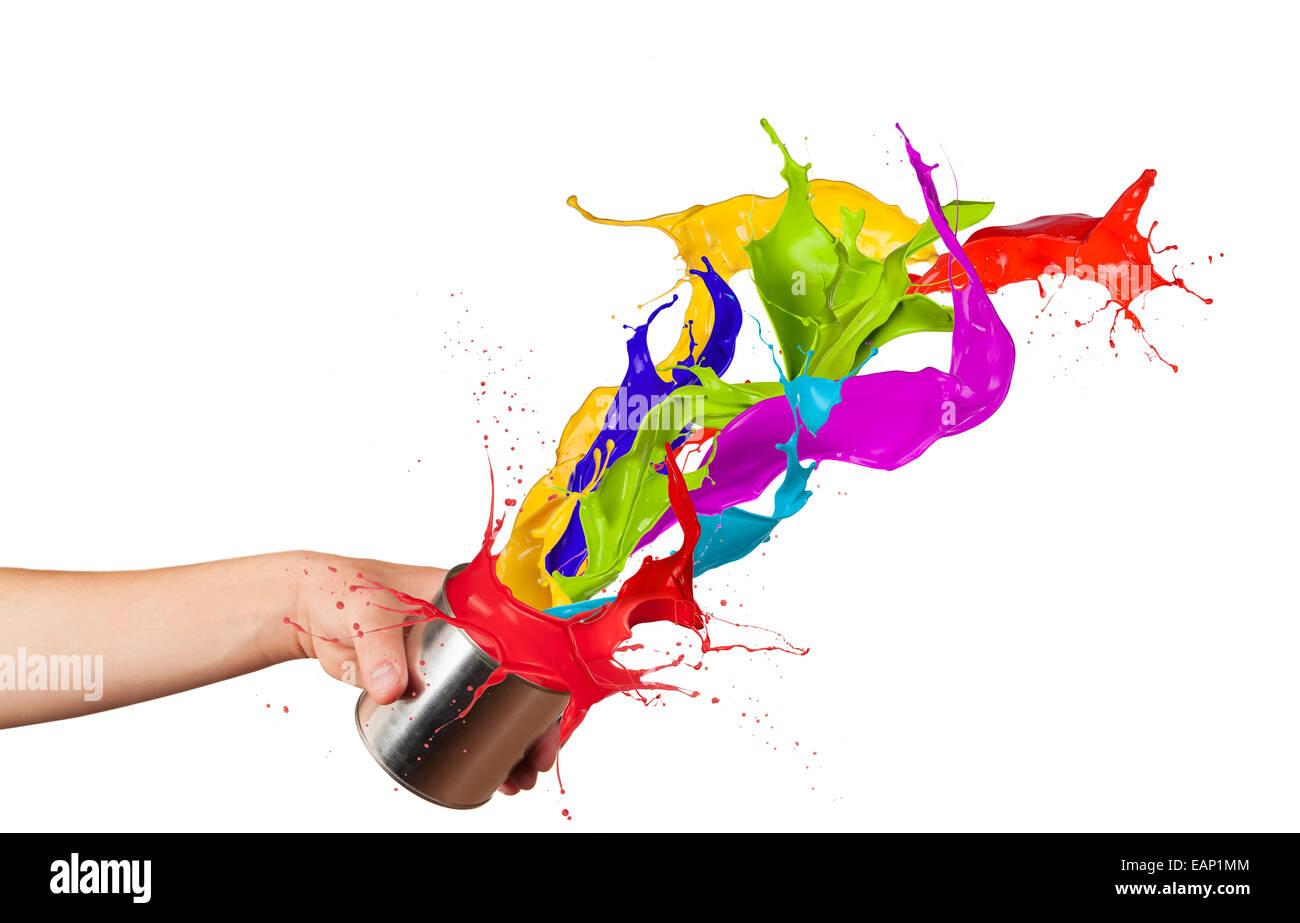 Salpicaduras de pintura de colores de salpicaduras pueden aislado sobre fondo blanco foto - Salpicaduras de pintura ...