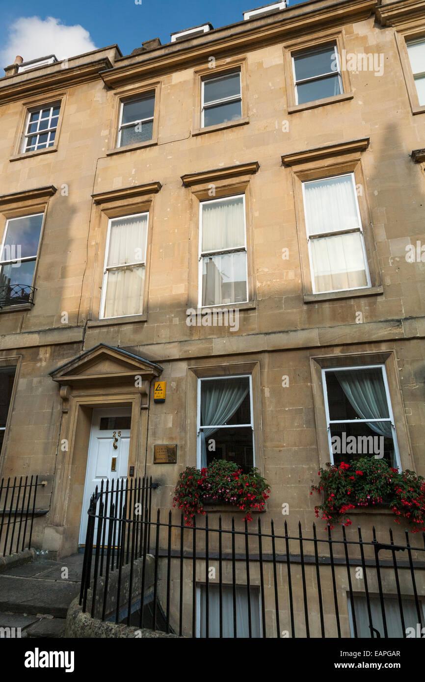 Delantero / Exterior / fuera de 25 Gay Street, Bath; la casa donde vivió Jane Austen. Ciudad de Bath, Somerset, Imagen De Stock