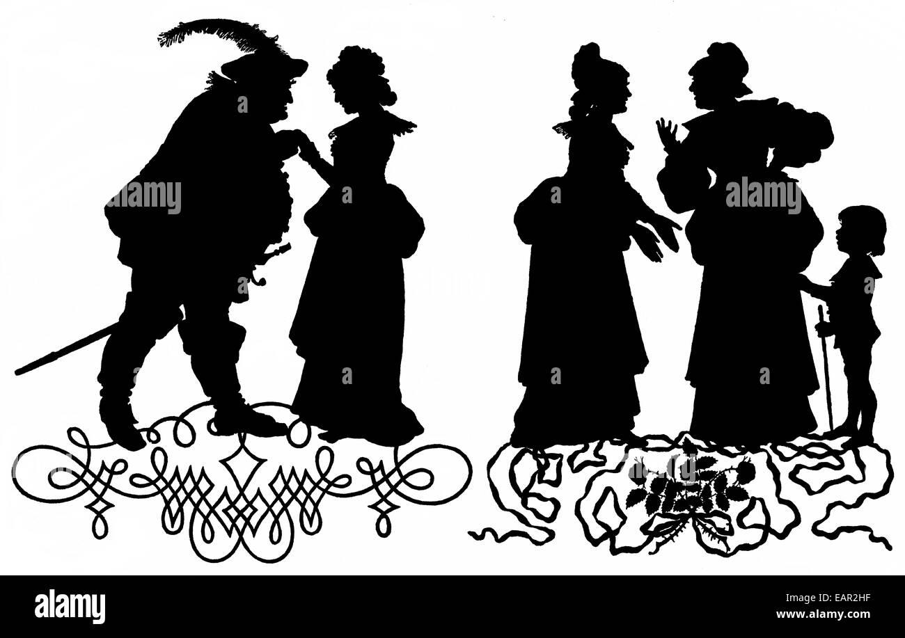 Falstaff y sus compañeros en silueta por P. Konewka, Fallstaf und seine Gesellen, Las alegres comadres de Windsor, Imagen De Stock