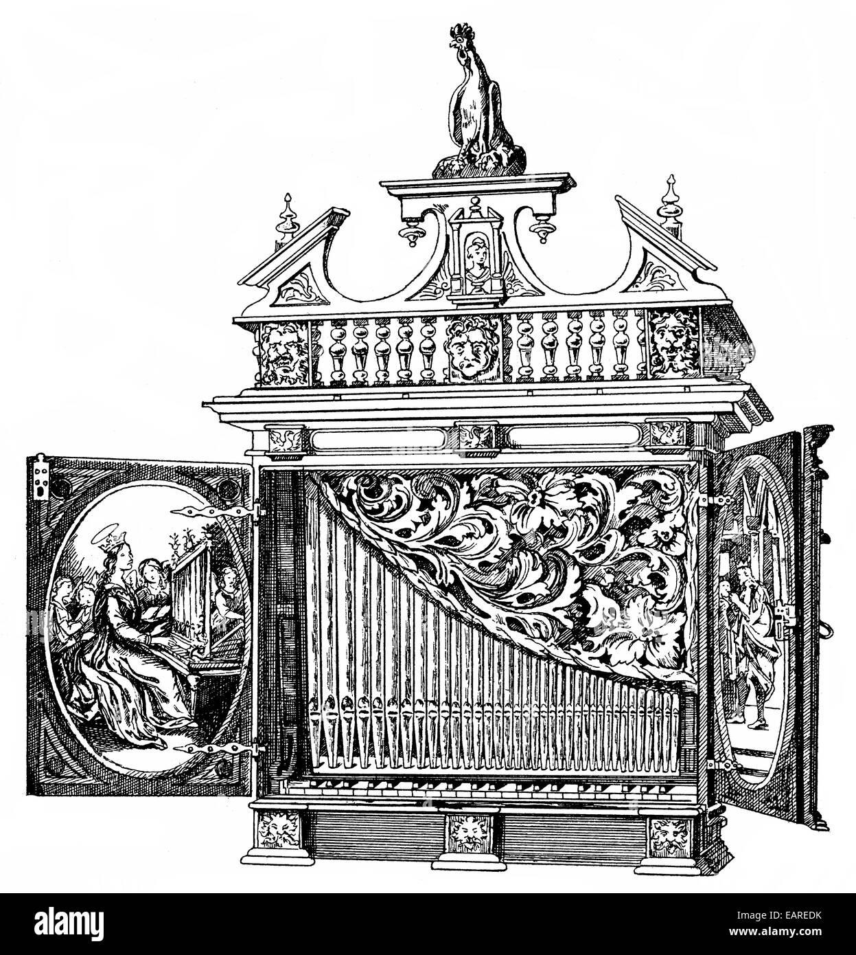 Un órgano positivo, pequeño órgano portátil con menos paradas, siglo xvi , Ein Positiv, EINE Imagen De Stock