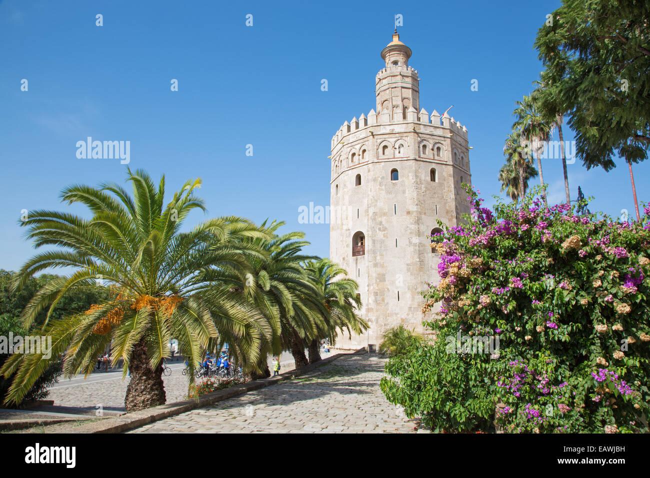 Sevilla - La torre medieval Torre del Oro Imagen De Stock