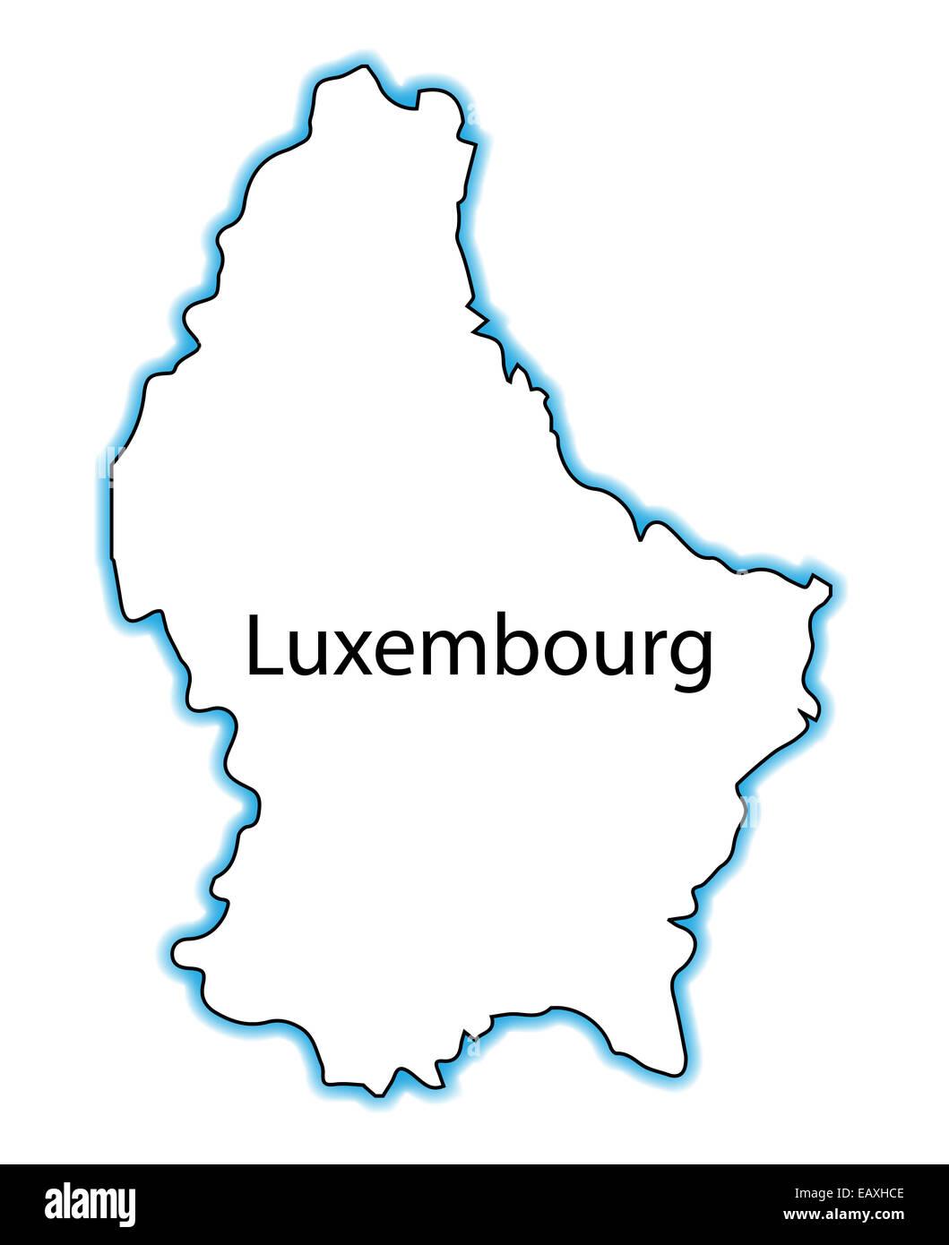 Esbozar El Mapa De Luxemburgo Sobre Un Fondo Blanco Foto Imagen
