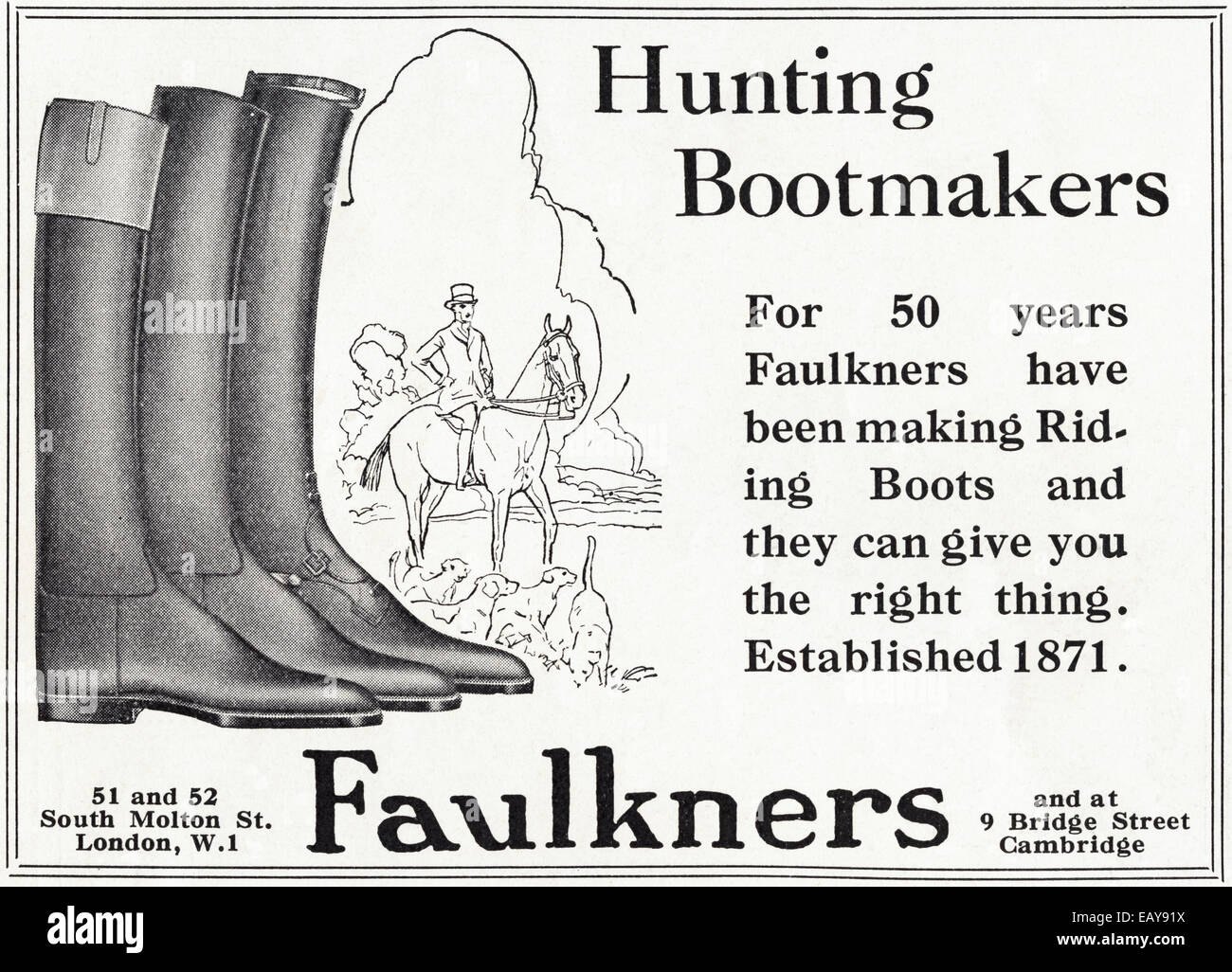 36aef47e7ef 1920 Anuncio para FAULKNERS bootmakers caza de Londres y Cambridge en  Inglés magazine, fechado en