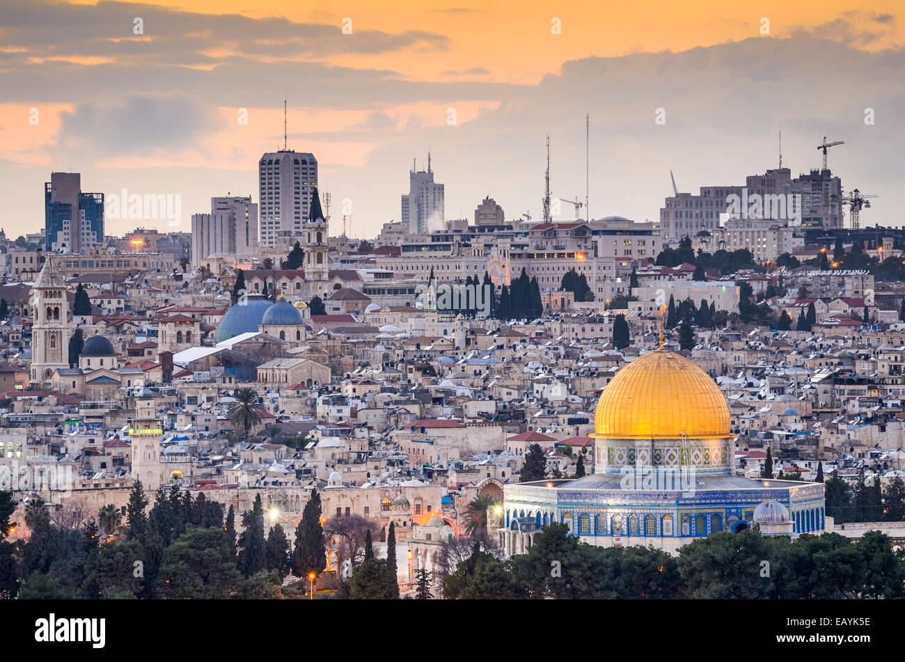 Jerusalén, Israel antiguo panorama de la ciudád. Imagen De Stock