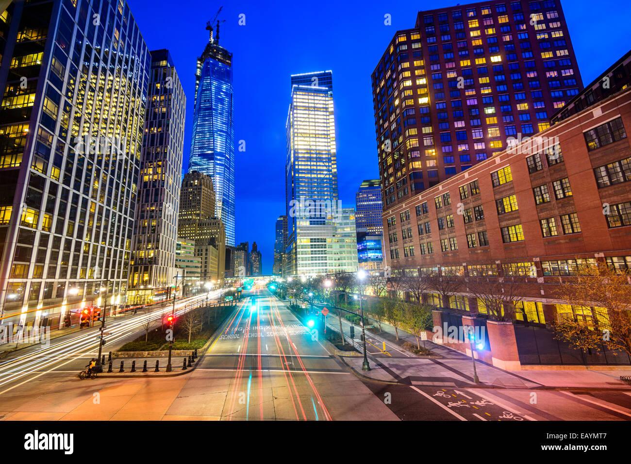El paisaje urbano de la ciudad de Nueva York en el Bajo Manhattan. Imagen De Stock