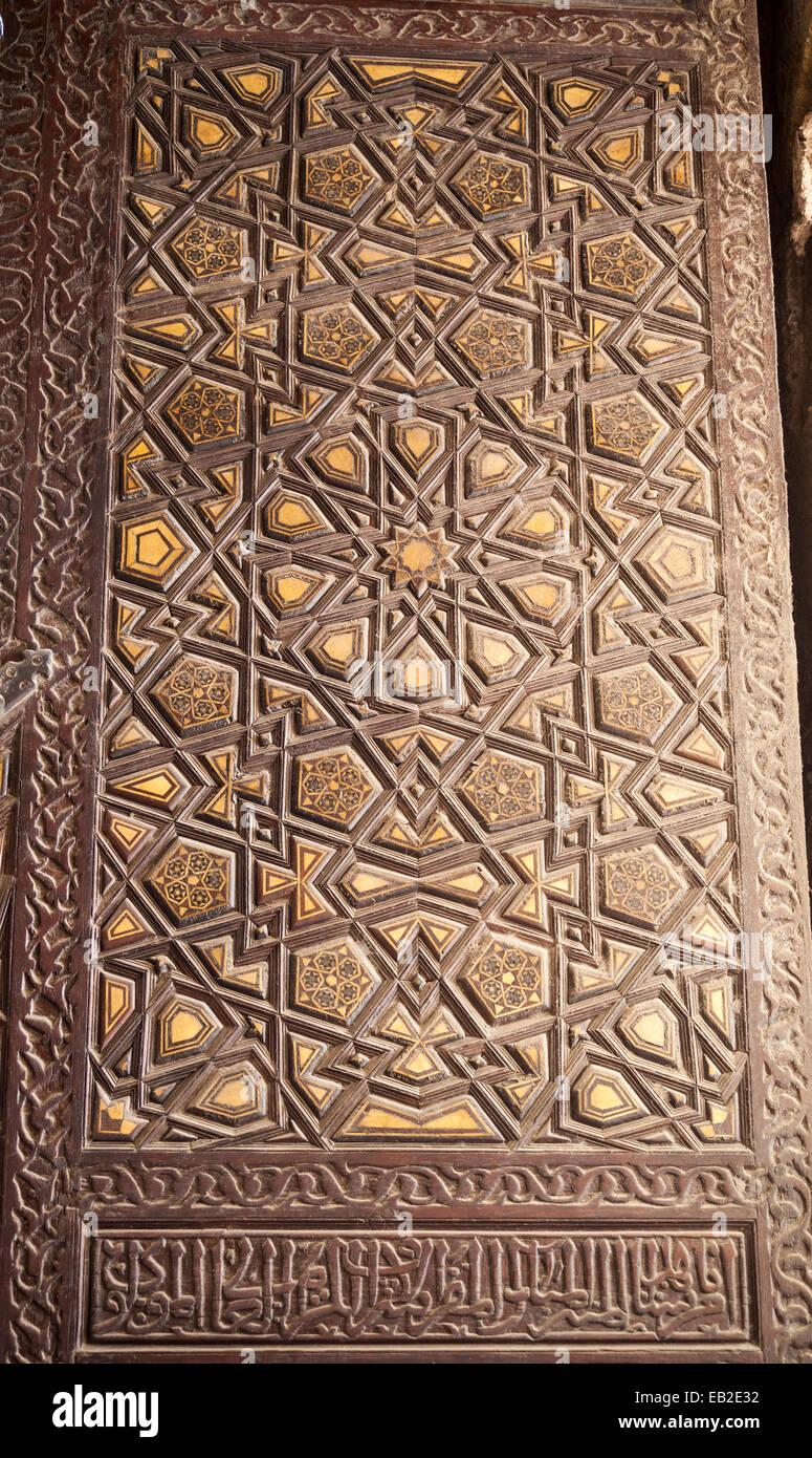 Detalle de minbar de la mezquita de al-Yusufi emir Azbak, Cairo, Egipto Foto de stock