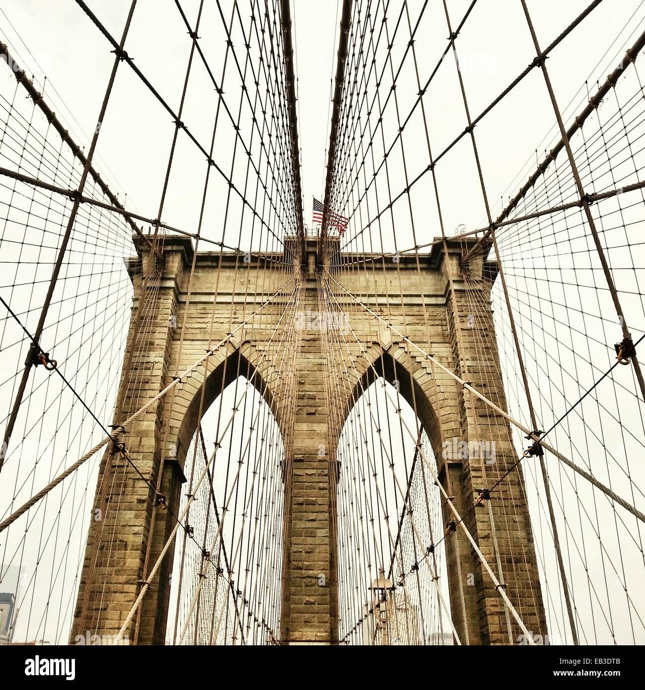 Ee.Uu., Estado de Nueva York, Ciudad de Nueva York, Vista del Puente de Brooklyn Foto de stock