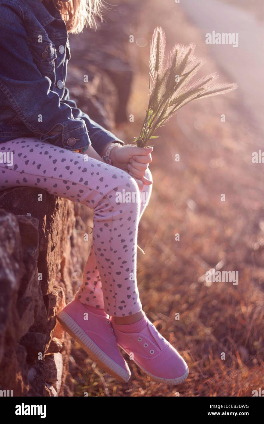 Chica (6-7) sentados en el muro Imagen De Stock