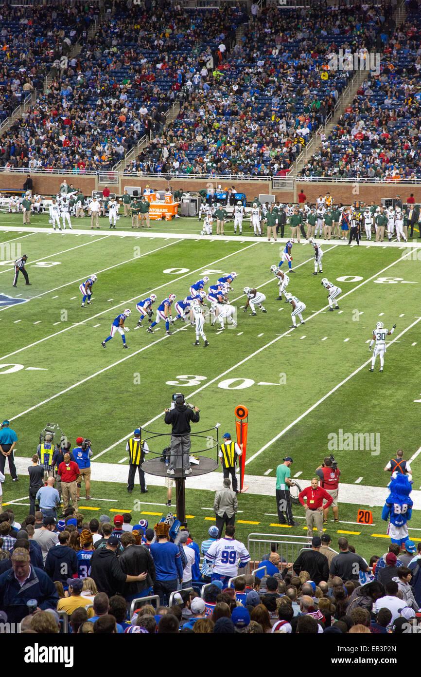 Detroit, Michigan - El Buffalo Bills juegan los New York Jets de la Liga Nacional de Fútbol en un partido en Imagen De Stock