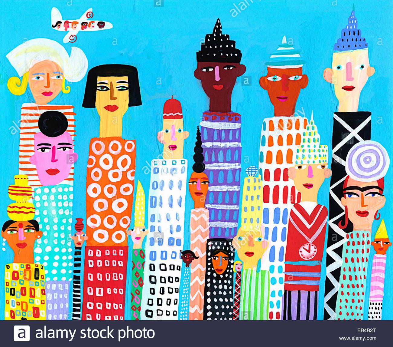 Los Edificios Rascacielos de la ciudad multiétnica con rostros Imagen De Stock