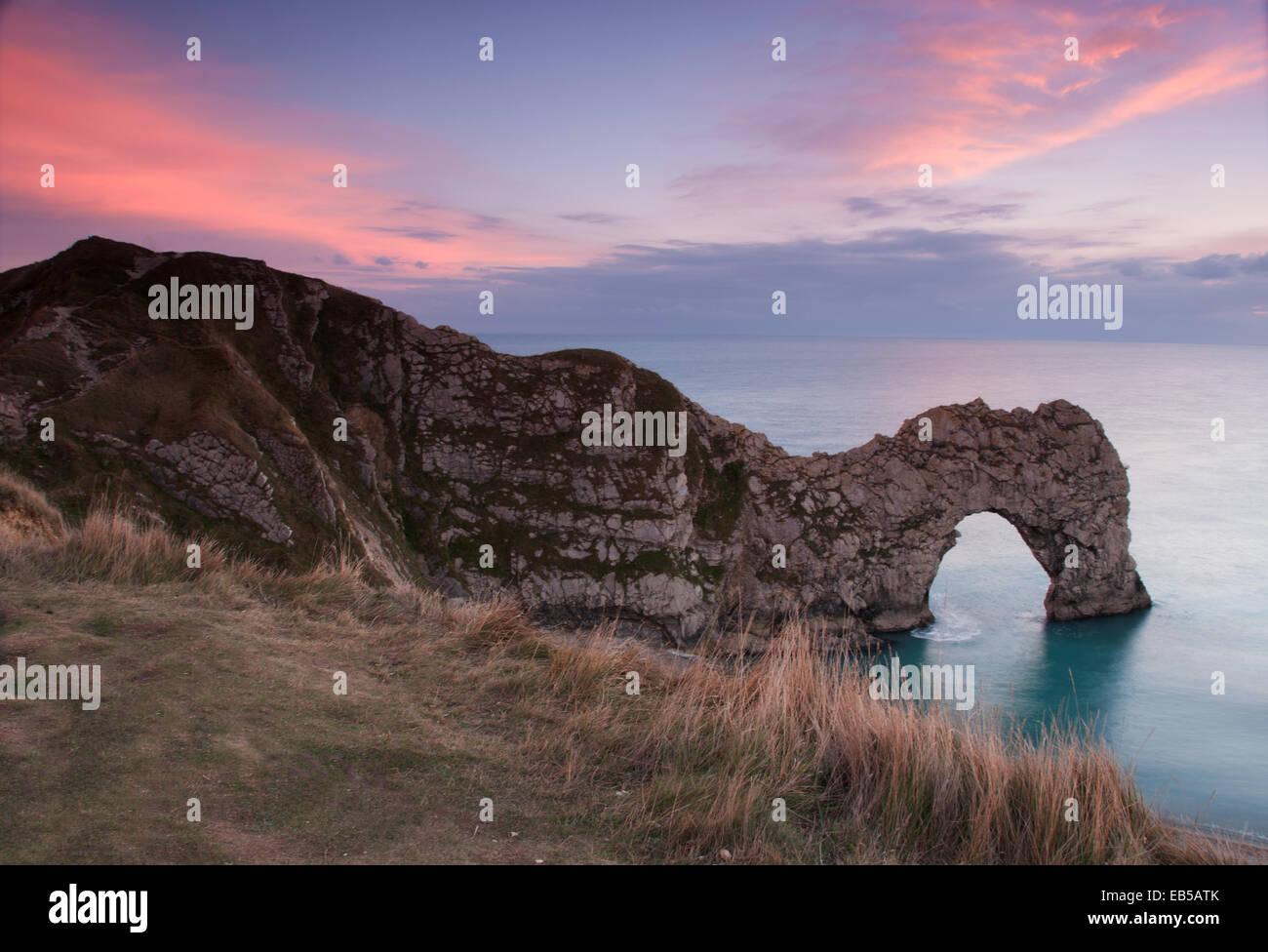 Puerta de Durdle Sunset Foto de stock