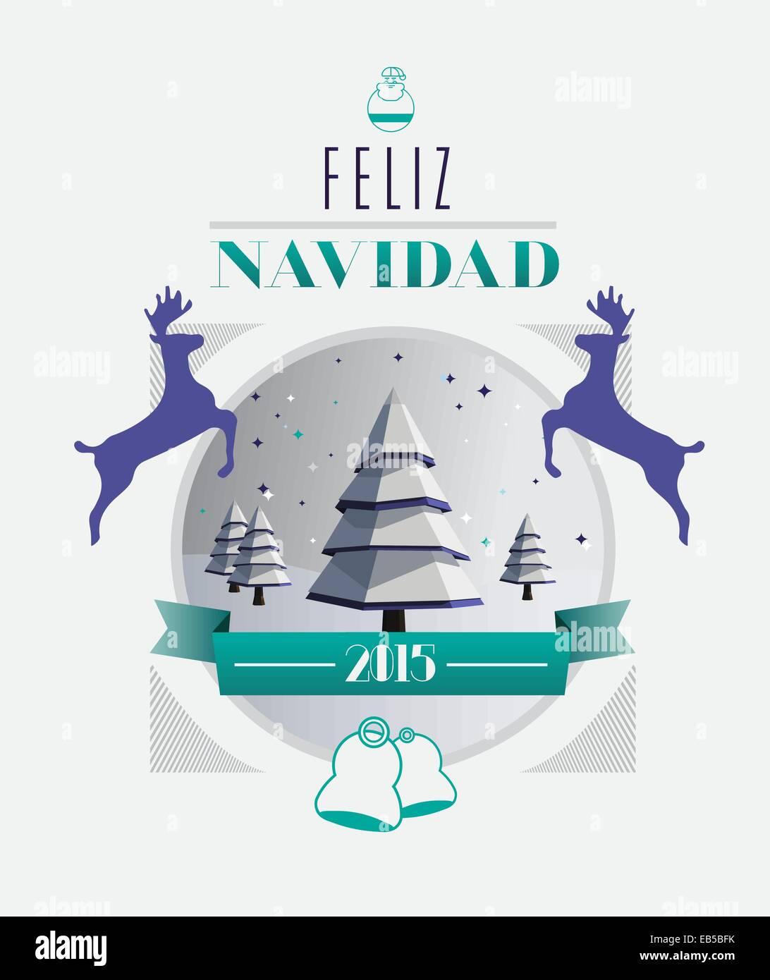 Feliz Navidad 2015 Mensaje con ilustraciones Imagen De Stock
