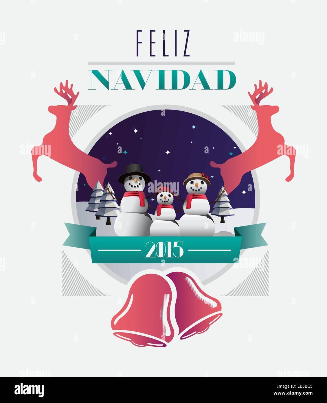 Feliz navidad mensaje con ilustraciones Imagen De Stock