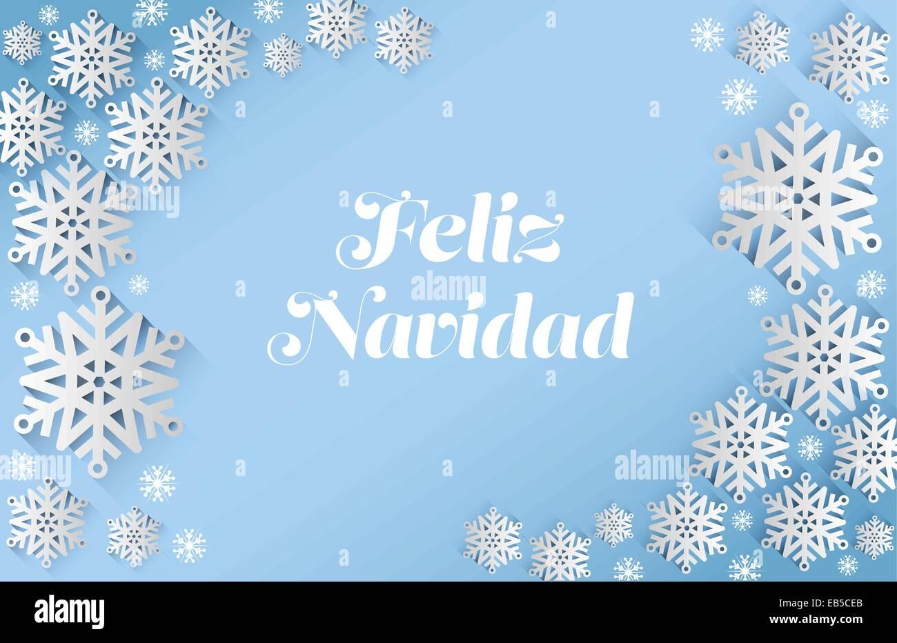 Mensaje de Feliz navidad con copos de nieve Imagen De Stock