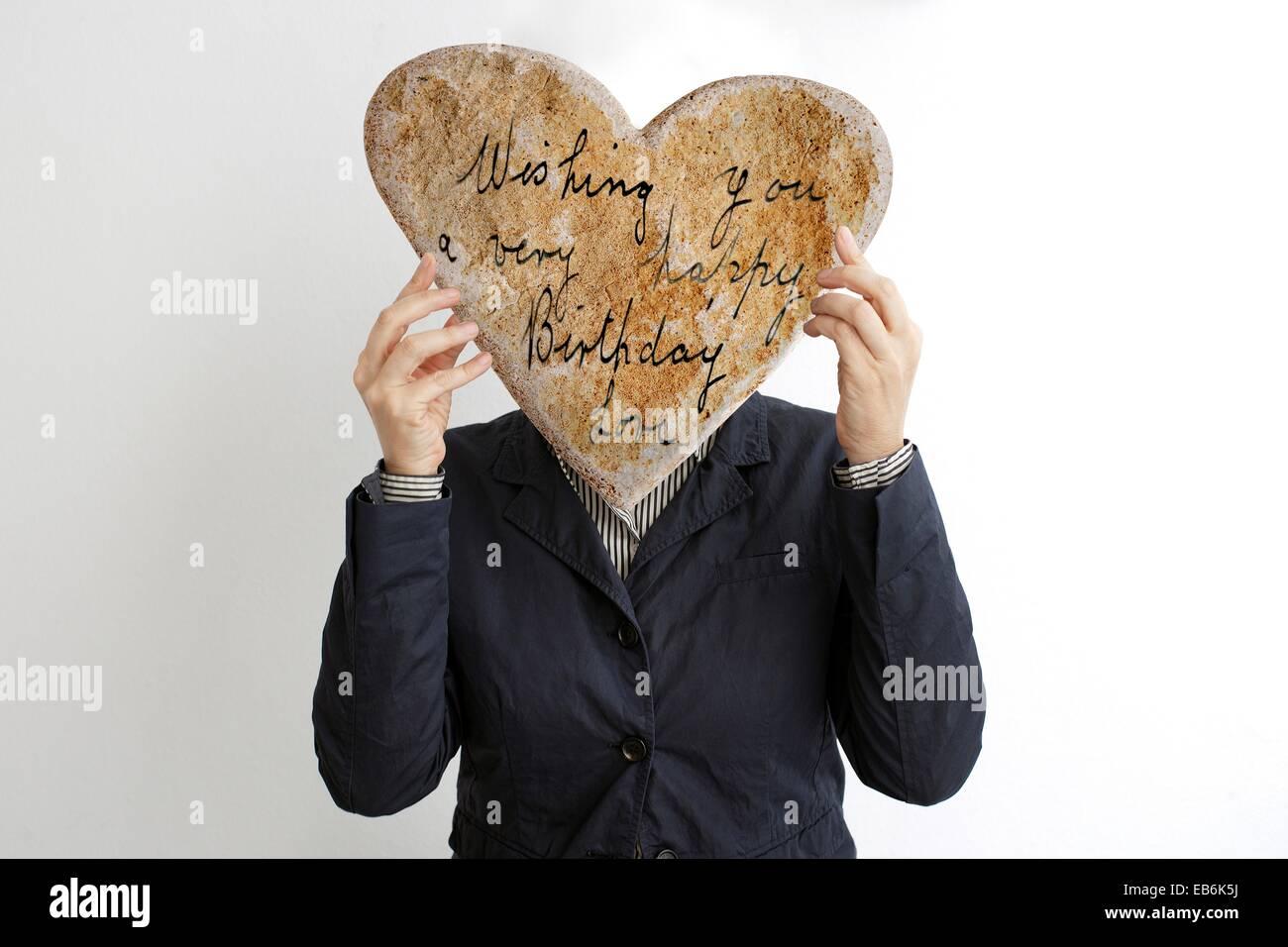 Imagen de mujer con un corazón en la cabeza, el amor, la imagen de la mujer con el corazón en la cabeza, Imagen De Stock