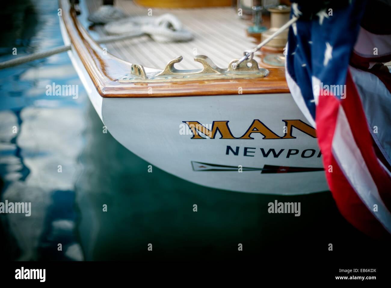 Popa del barco velero Manitou, Newport, en América, en 1937, Stern de velero Manitou, Newport, Estados Unidos, 1937 Foto de stock