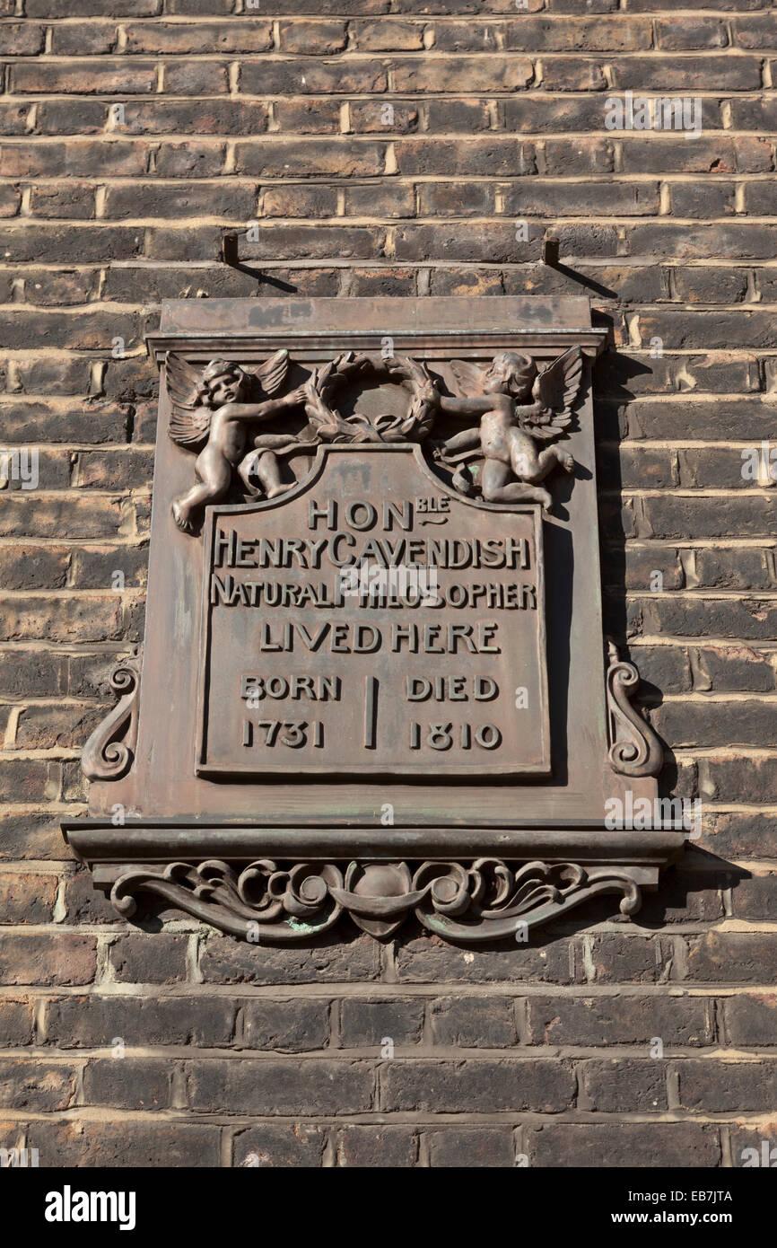 Henry Cavendish filósofo natural vivió aquí Imagen De Stock