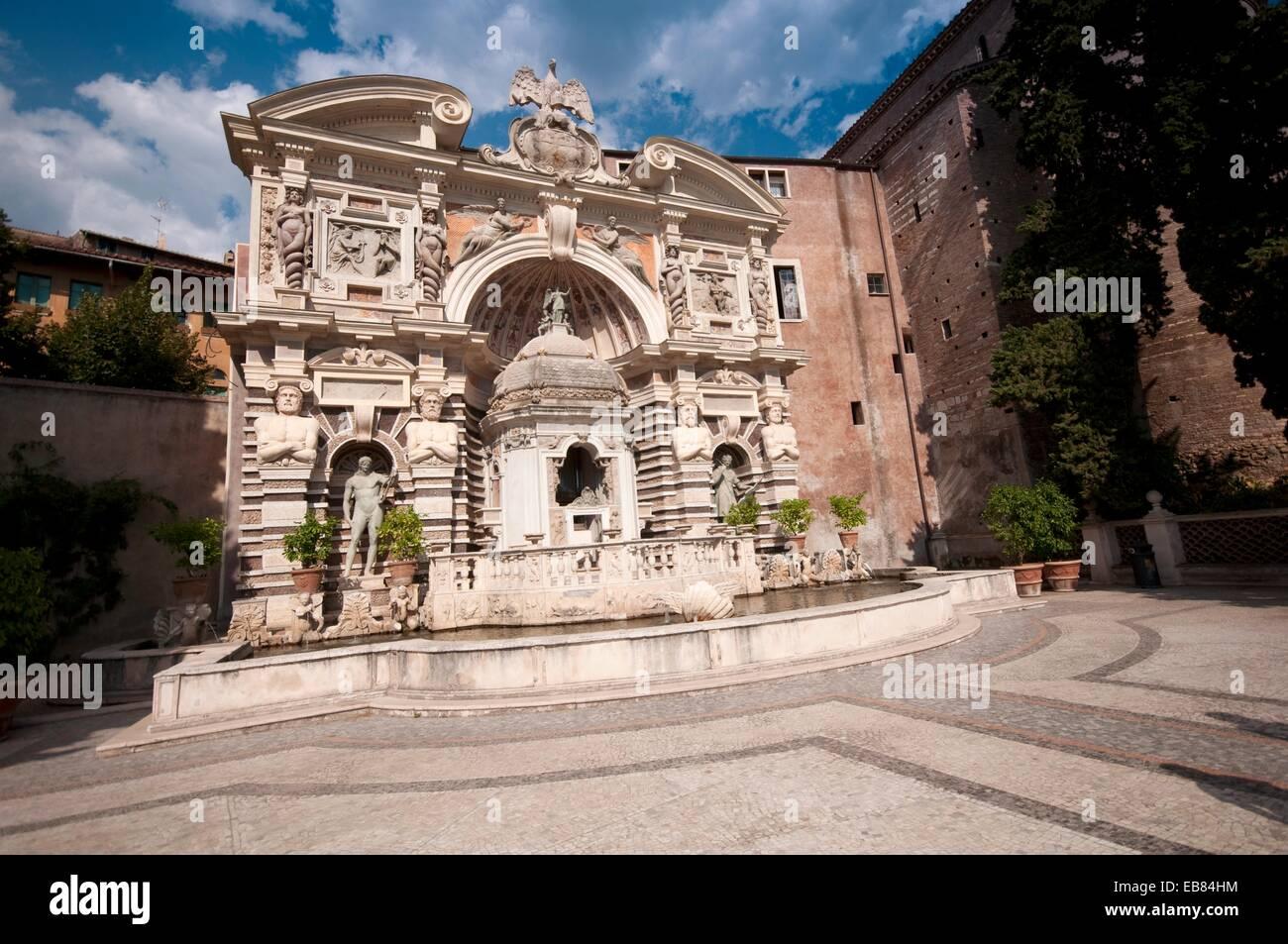 Italia, Lazio, Tivoli, Villa d'Este, Fuente del órgano hidráulico o la Fontana dell'Organo Imagen De Stock