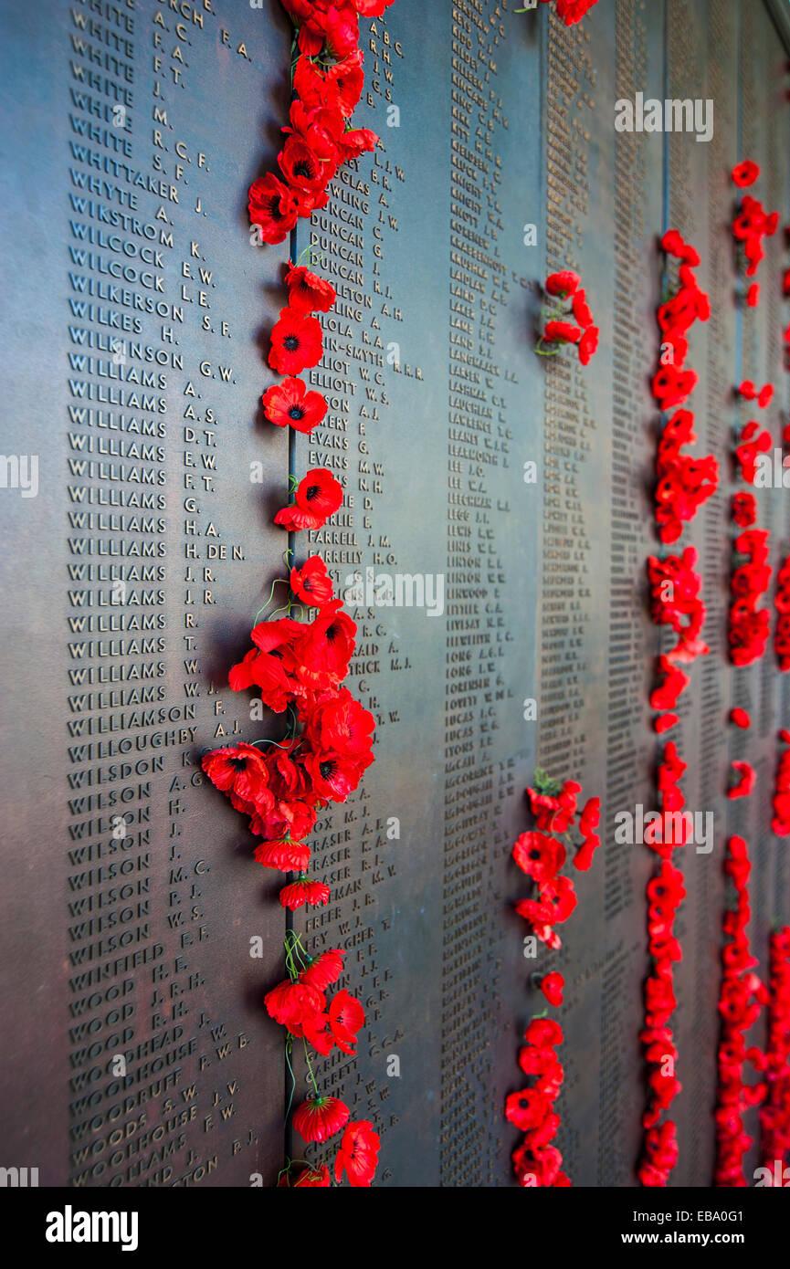 Signo de la víctima en el Australian War Memorial, Canberra, Australian Capital Territory, Australia Imagen De Stock