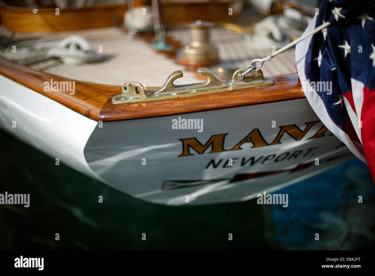 Popa del barco velero Manitou Newport Latina 1937 Stern de velero Manitou Newport America 1937 Foto de stock