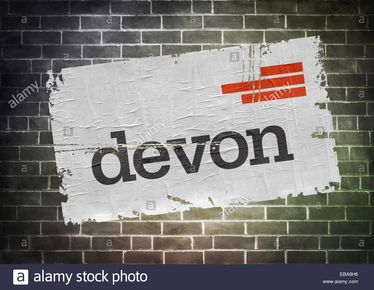 Devon Energy fracking póster icono del logotipo de la compañía Imagen De Stock
