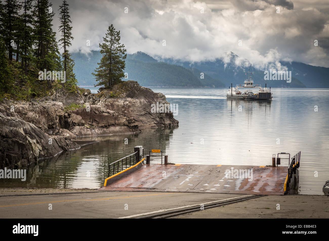 Shelter Bay, la flecha superior Lake, British Columbia, Canadá, América del Norte. Foto de stock