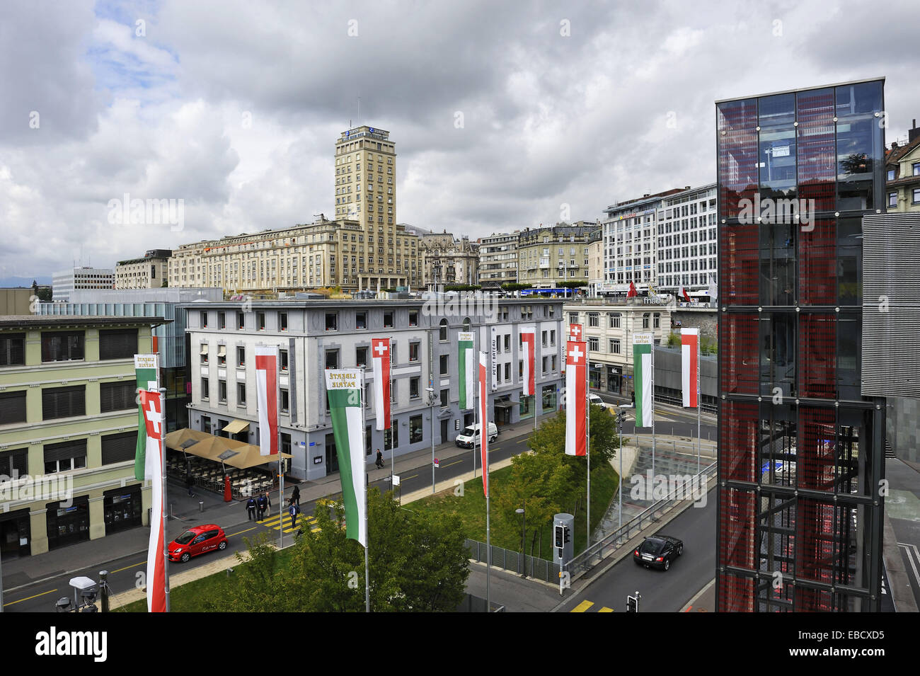 Antecedentes La arquitectura de Bel Air bridge cantón de Vaud color image confederación Europa elevador Imagen De Stock