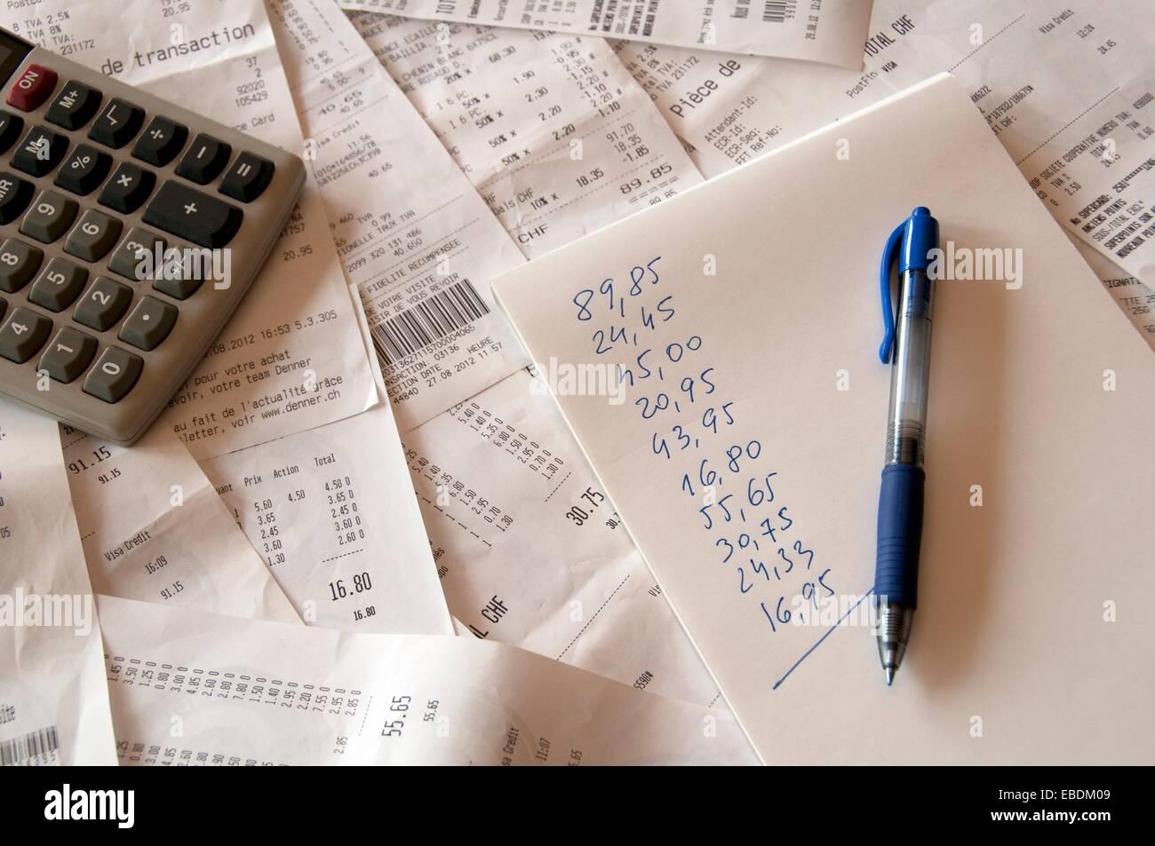 Resumen de gastos domésticos recogidos por los ingresos procedentes de supermercados Imagen De Stock