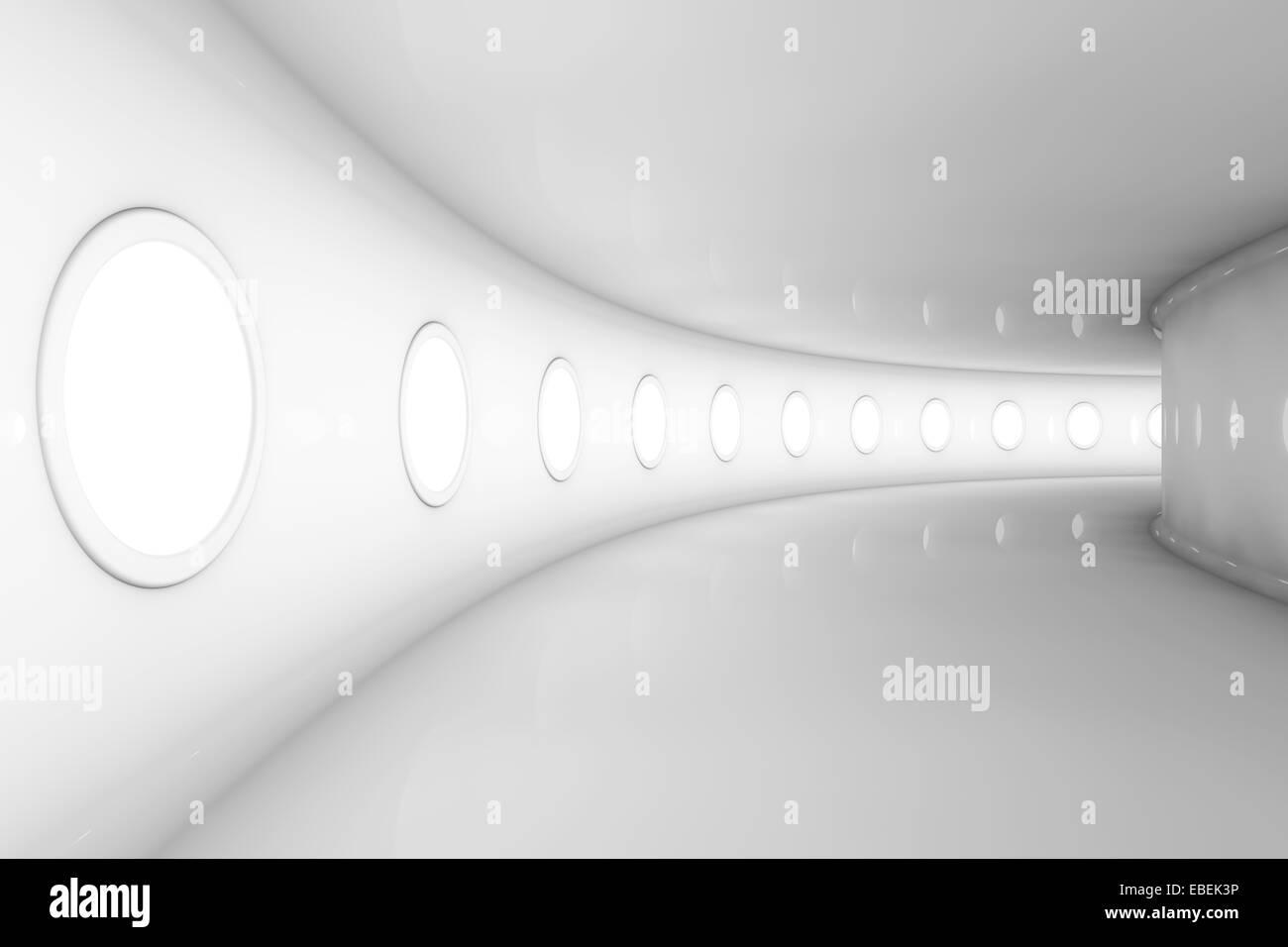 Ilustración 3D prestados de una nave futurista vacía o piso de la estación espacial. Foto de stock