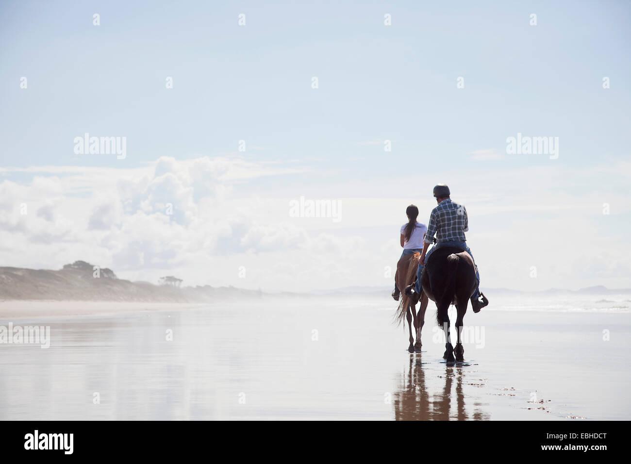 Equitación, Pakiri Beach, Auckland, Nueva Zelanda Imagen De Stock